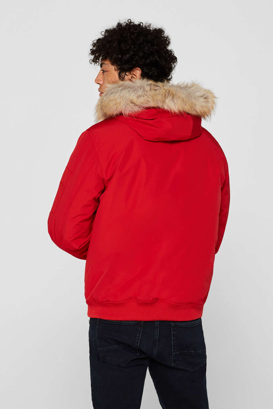Winter jacket with a faux fur hood, RED, detail image number 3