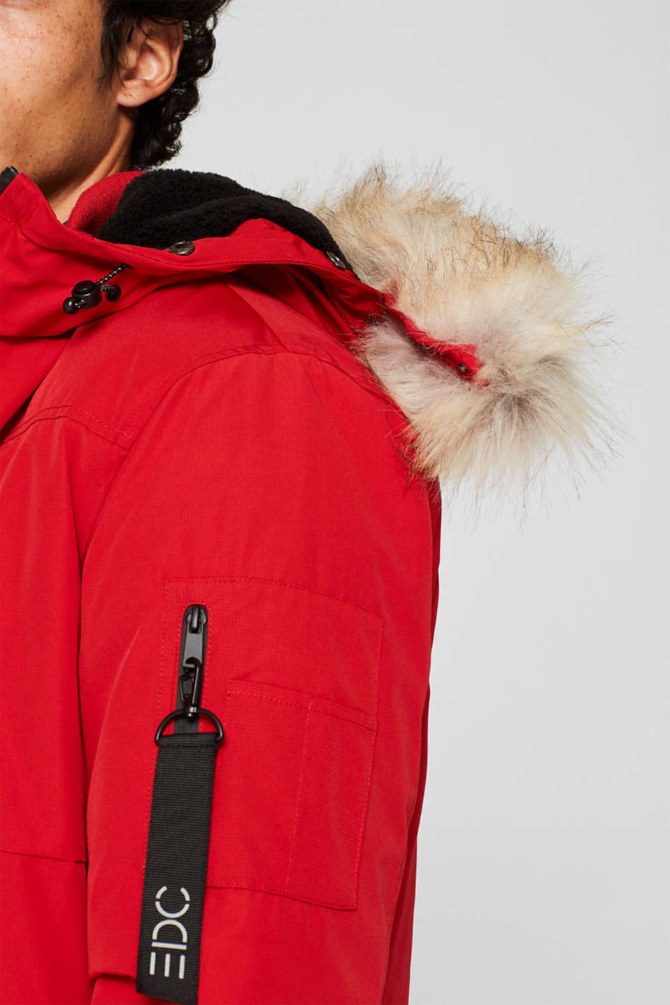 Winter jacket with a faux fur hood, RED, detail image number 2