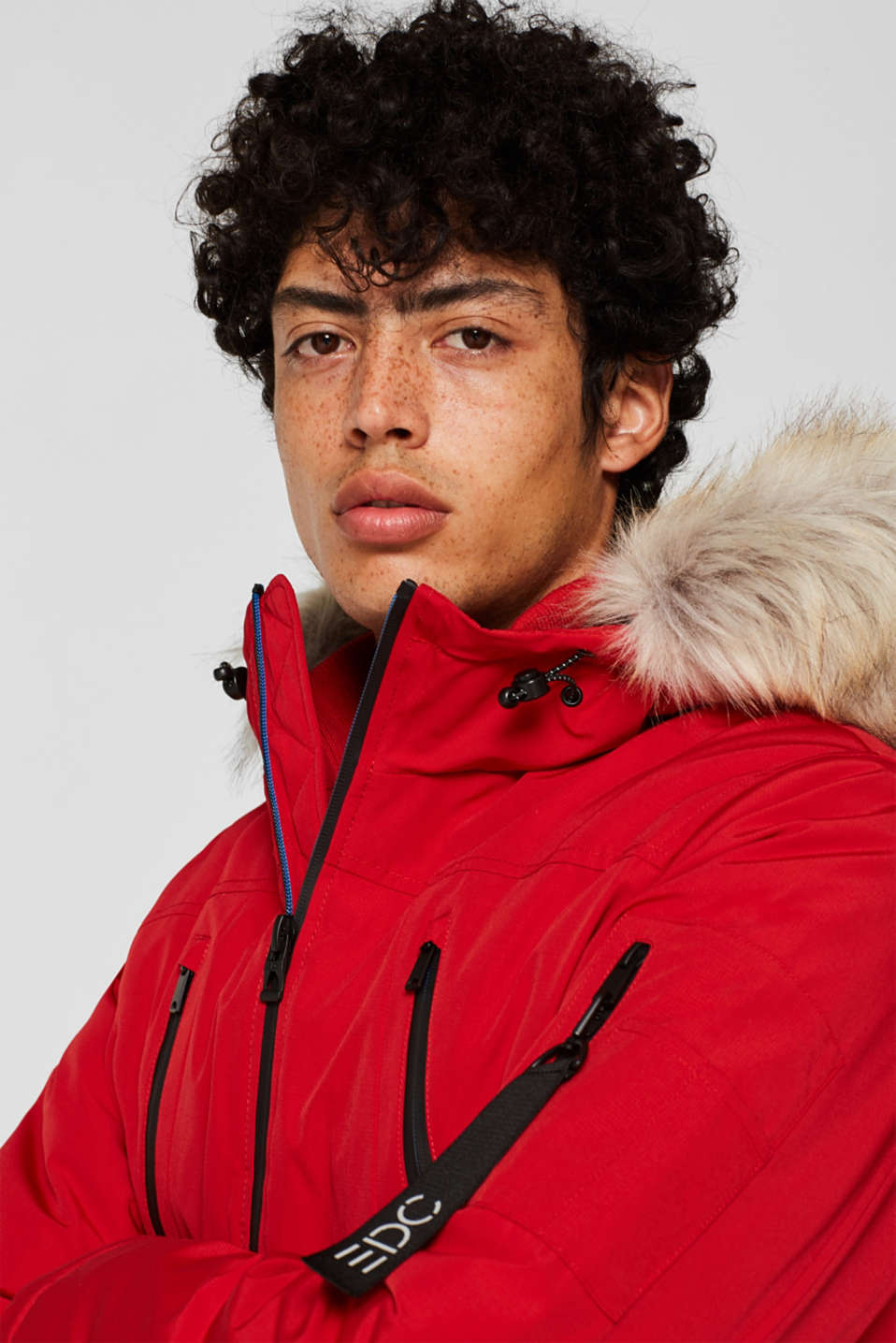 Winter jacket with a faux fur hood, RED, detail image number 5