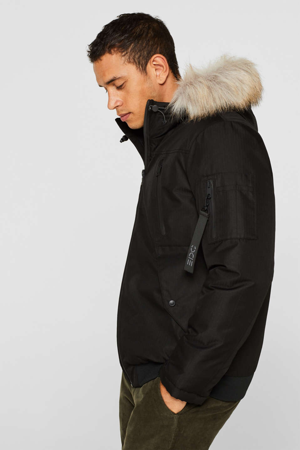 edc - Winter jacket with a faux fur hood