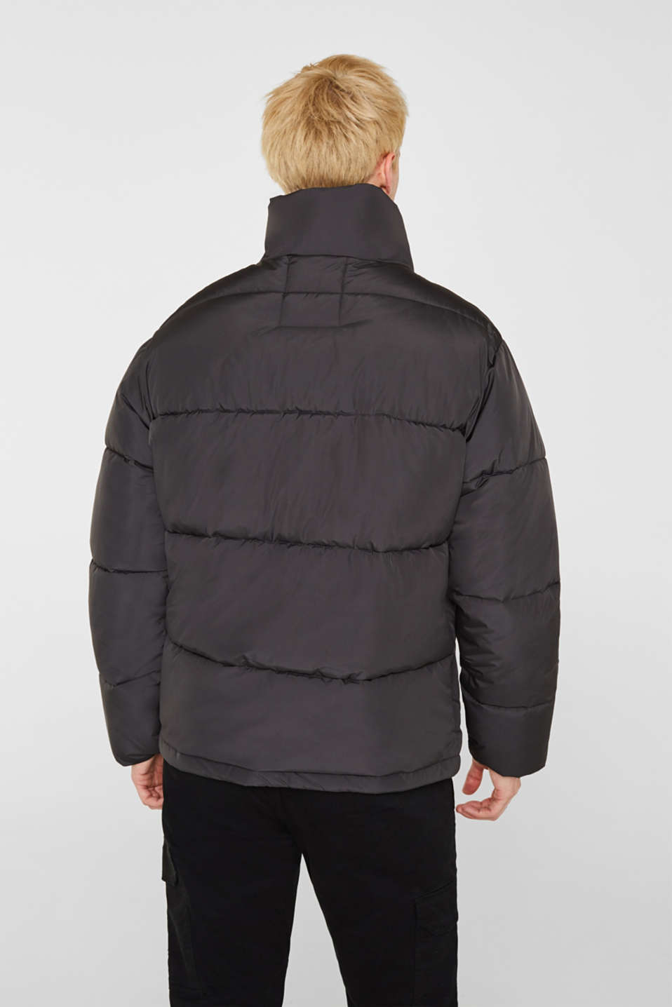 Quilted jacket with a high collar, GREY, detail image number 3