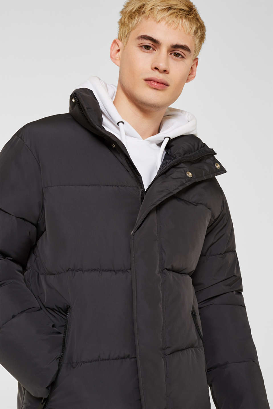 Quilted jacket with a high collar, GREY, detail image number 4