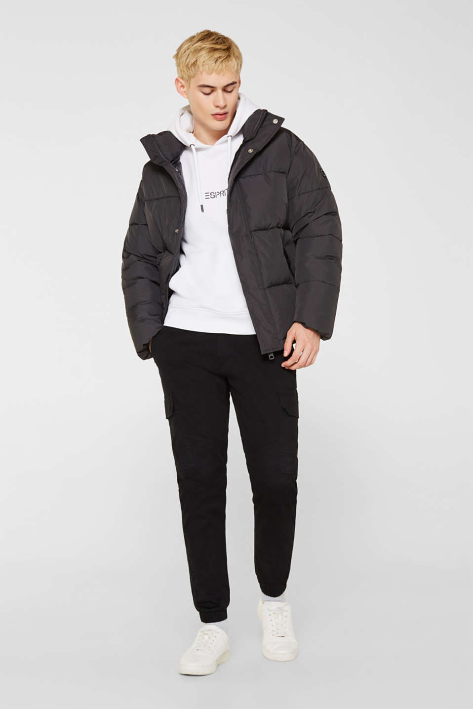 Quilted jacket with a high collar, GREY, detail image number 1