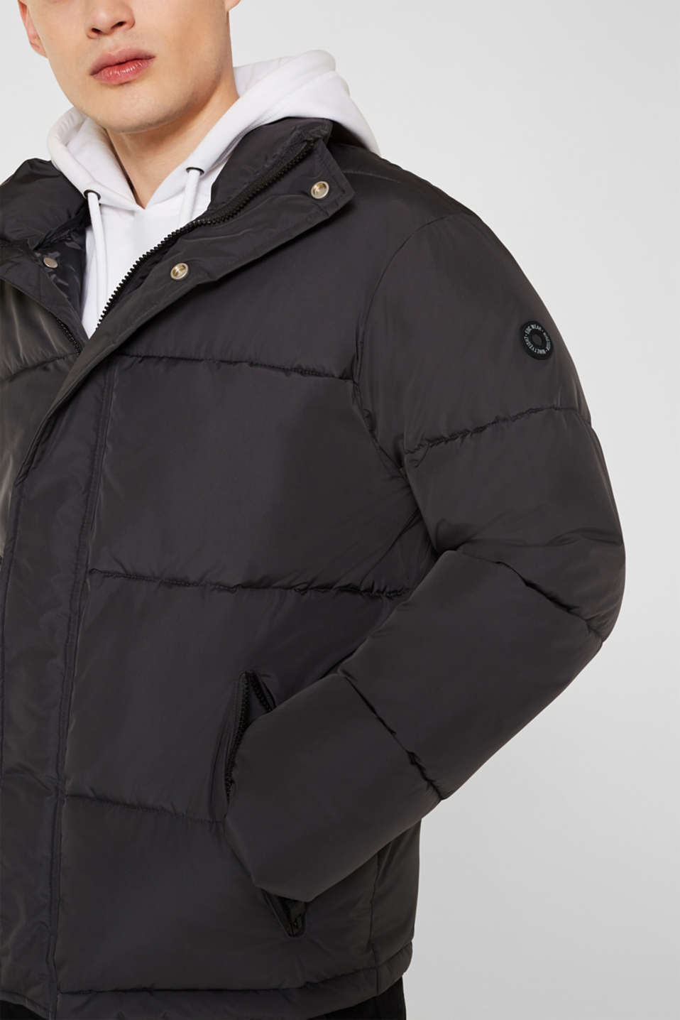 Quilted jacket with a high collar, GREY, detail image number 6