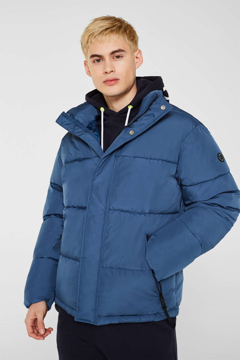 Quilted jacket with a high collar, BLUE, detail image number 0