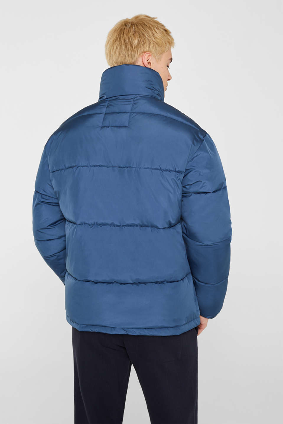 Quilted jacket with a high collar, BLUE, detail image number 3