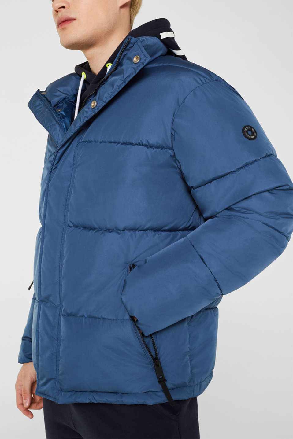 Quilted jacket with a high collar, BLUE, detail image number 2