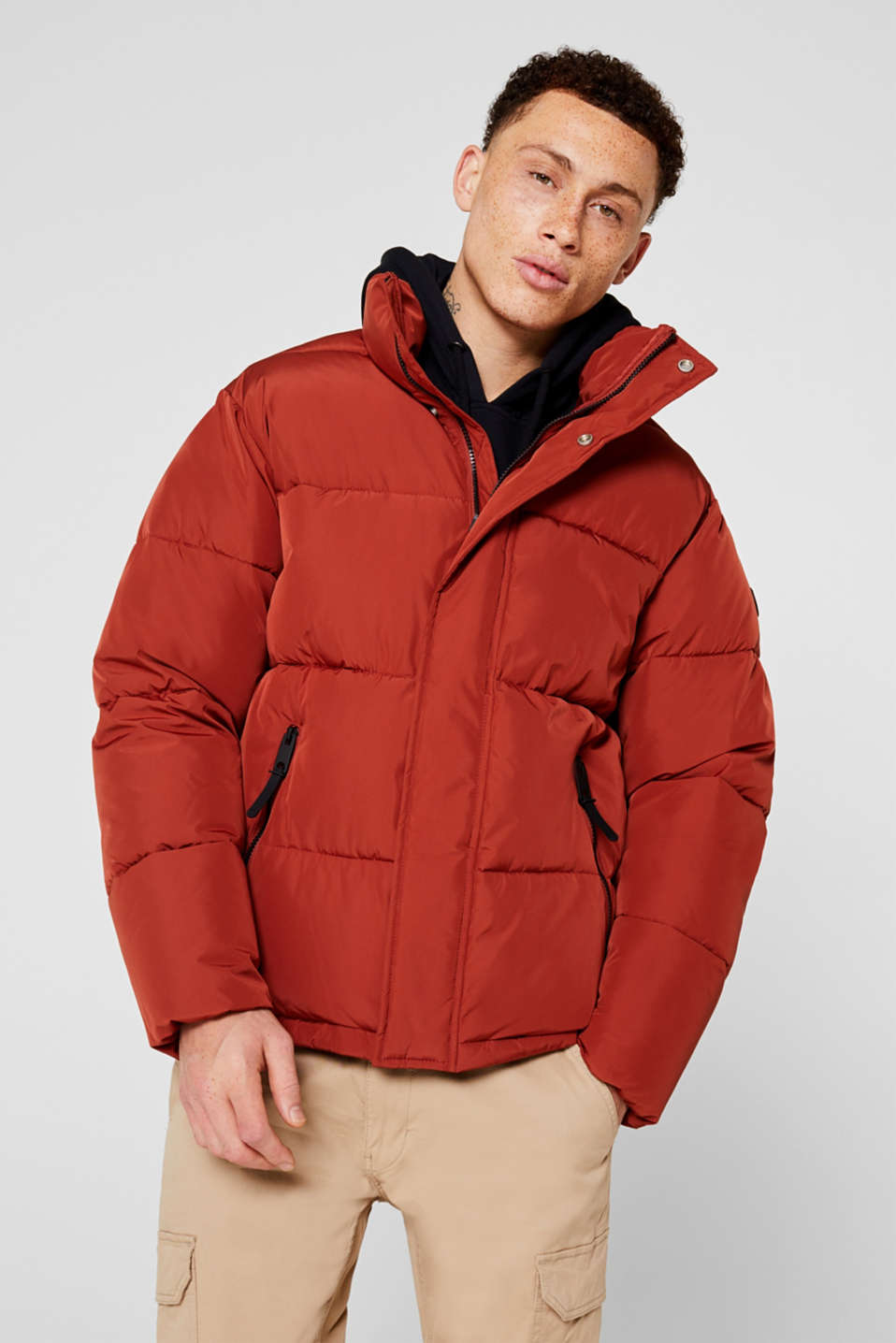 Quilted jacket with a high collar, RUST ORANGE, detail image number 0