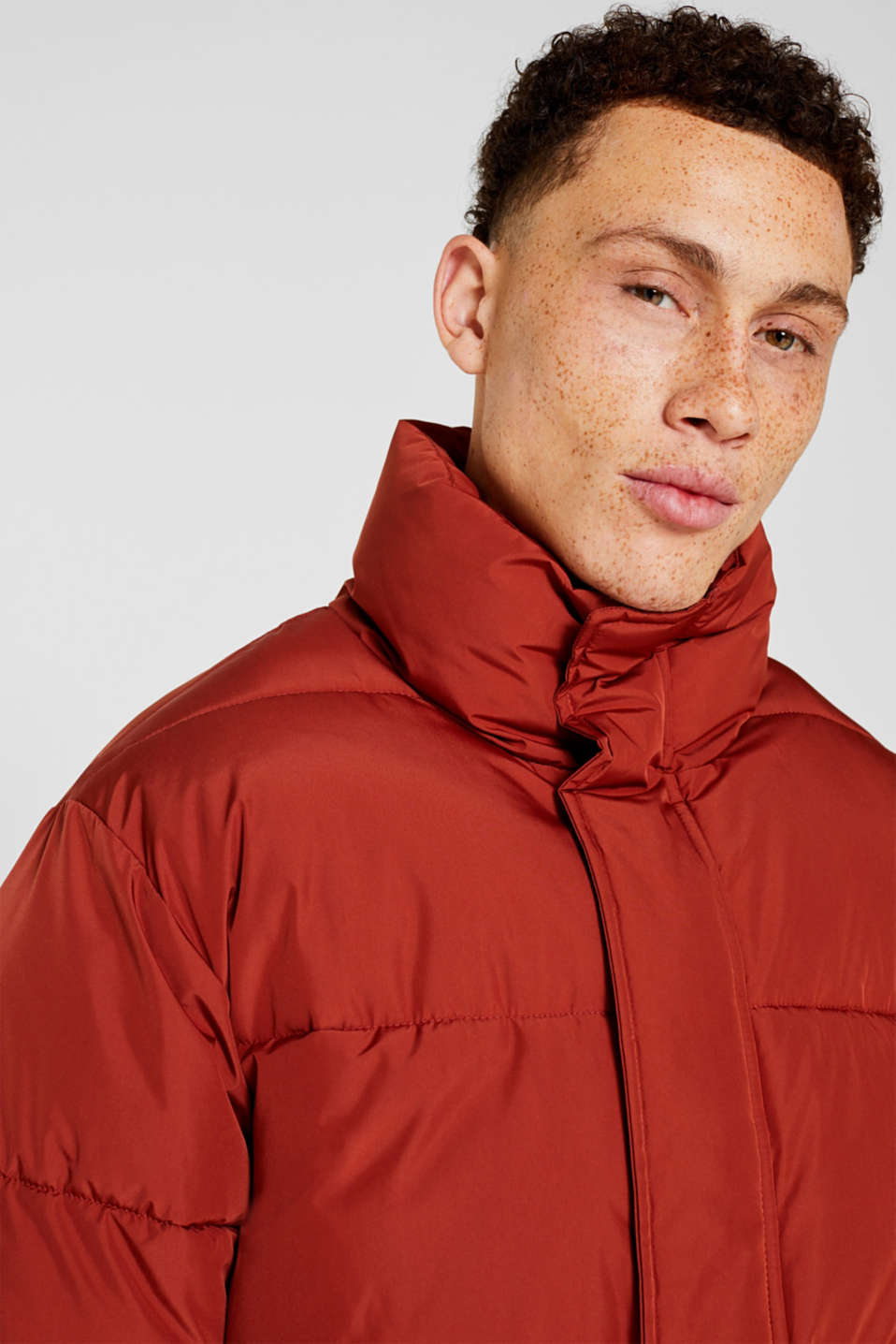 Quilted jacket with a high collar, RUST ORANGE, detail image number 6