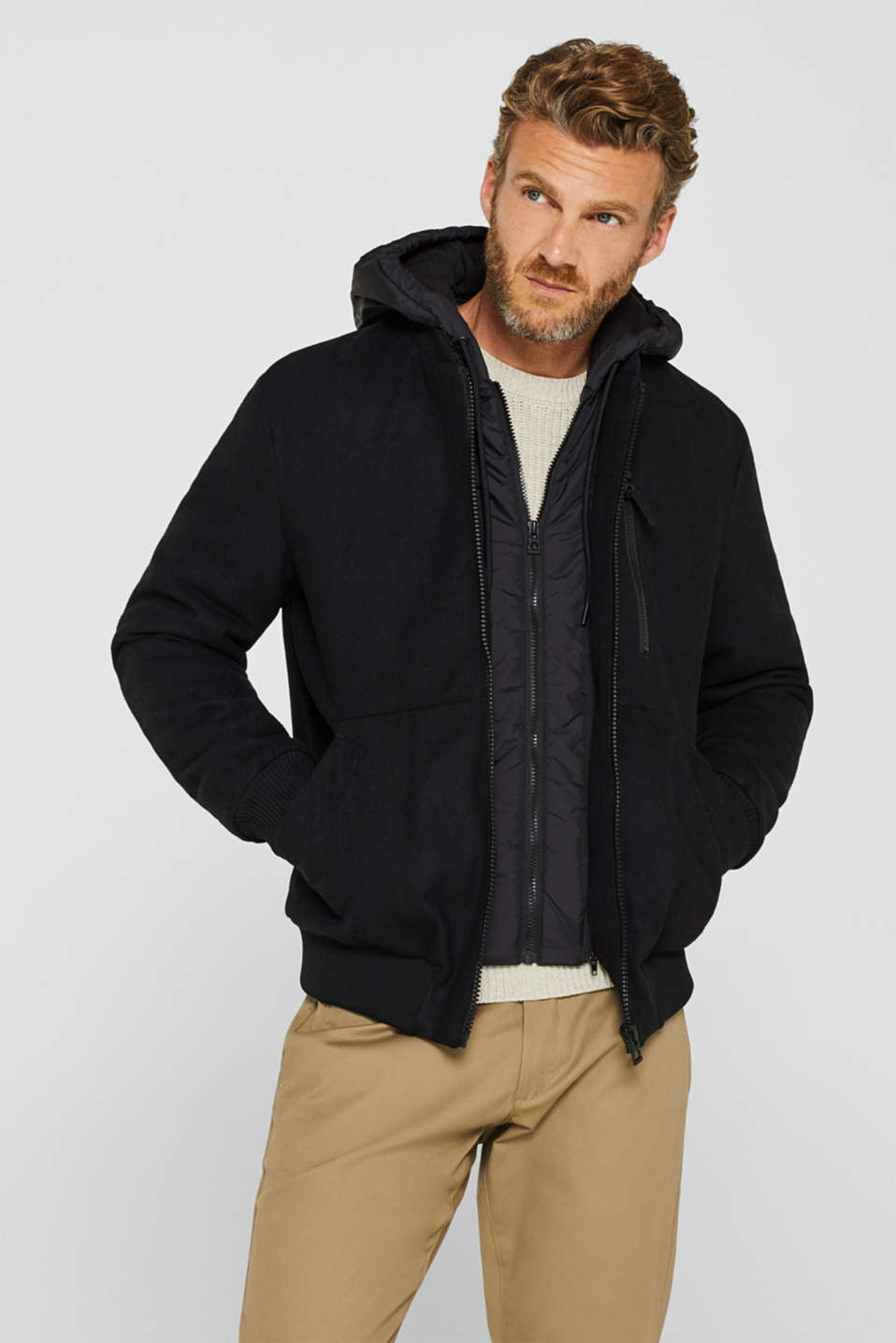 With wool: Jacket with adjustable hood, BLACK, detail image number 0