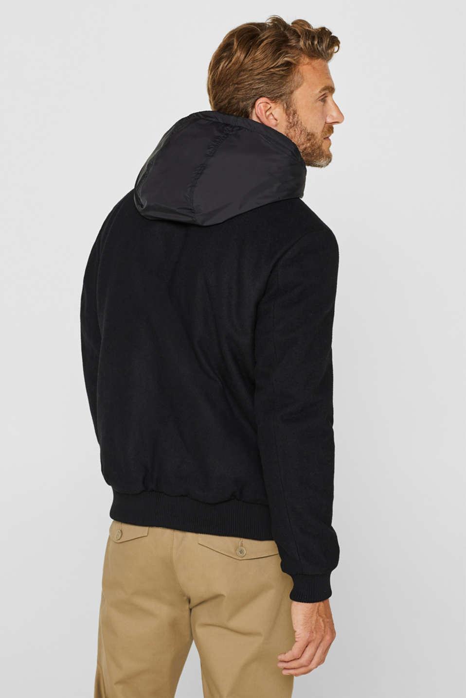 With wool: Jacket with adjustable hood, BLACK, detail image number 3