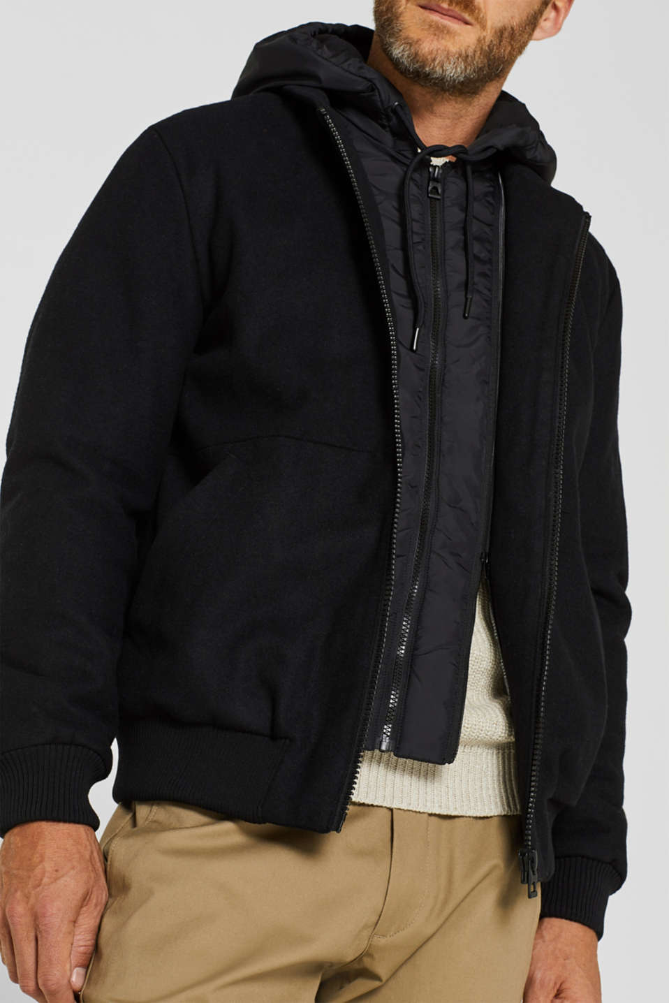 With wool: Jacket with adjustable hood, BLACK, detail image number 4