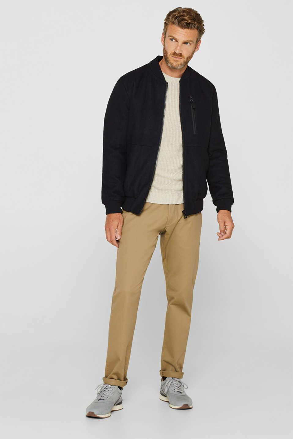 With wool: Jacket with adjustable hood, BLACK, detail image number 1