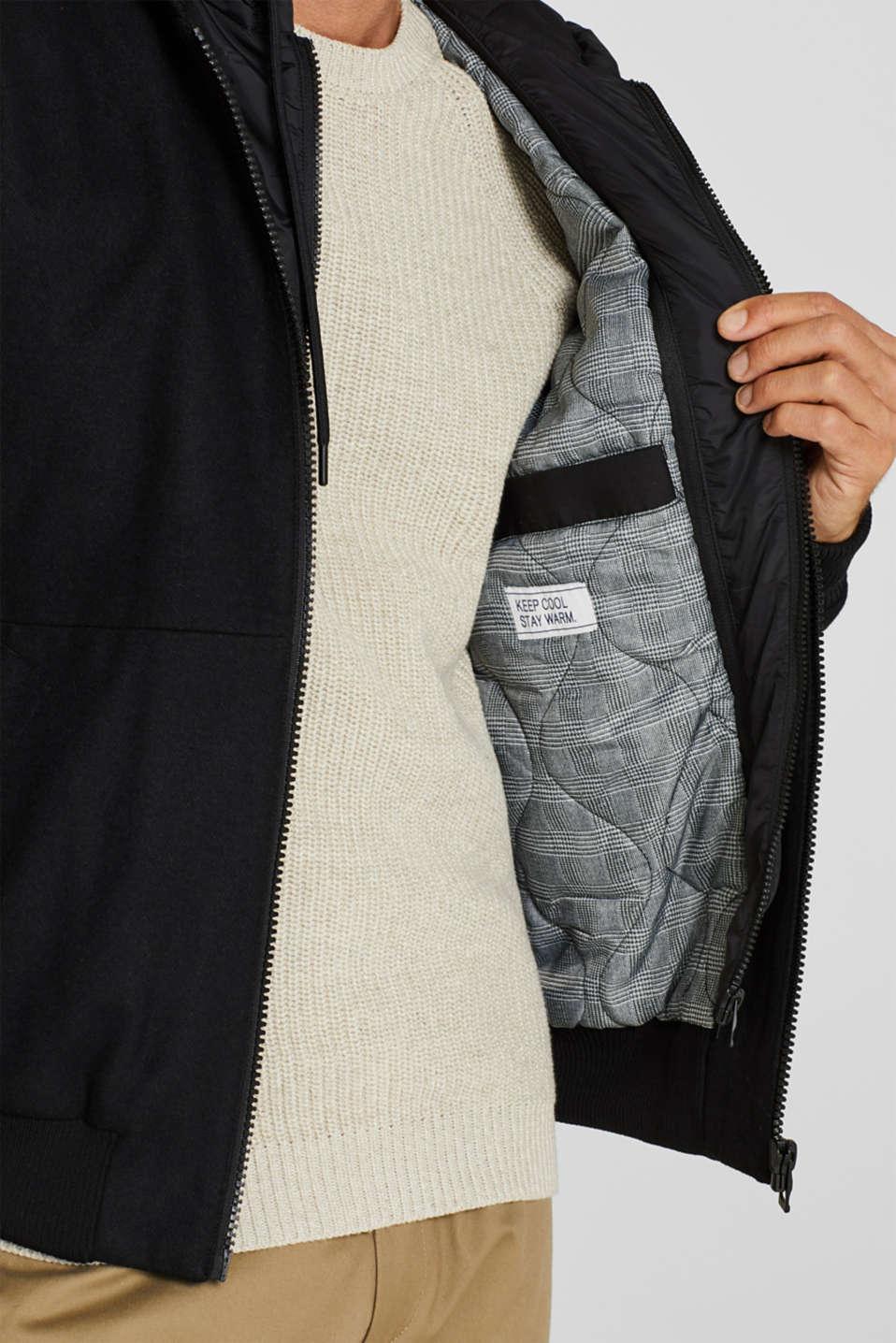 With wool: Jacket with adjustable hood, BLACK, detail image number 2