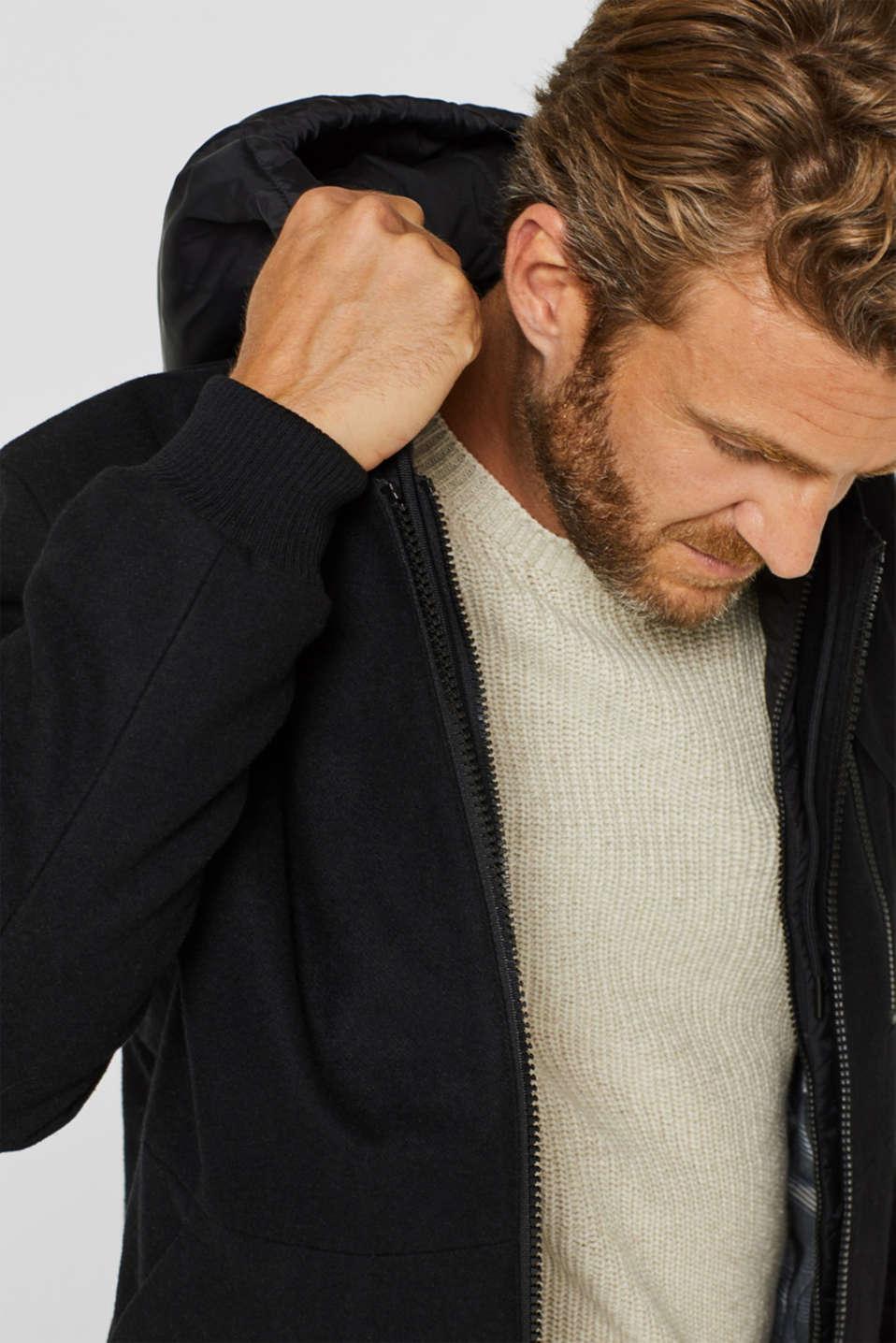 With wool: Jacket with adjustable hood, BLACK, detail image number 6