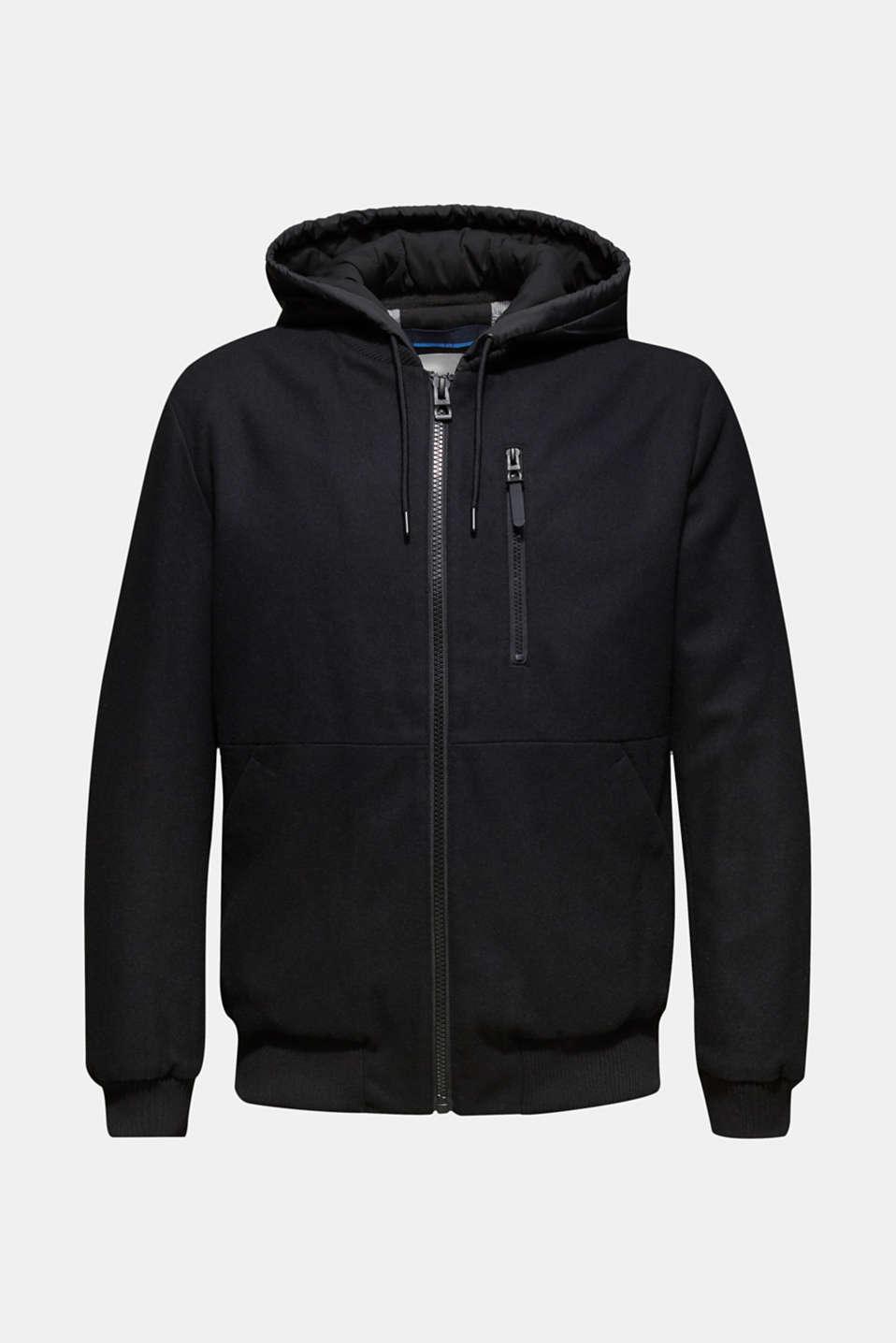 With wool: Jacket with adjustable hood, BLACK, detail image number 7