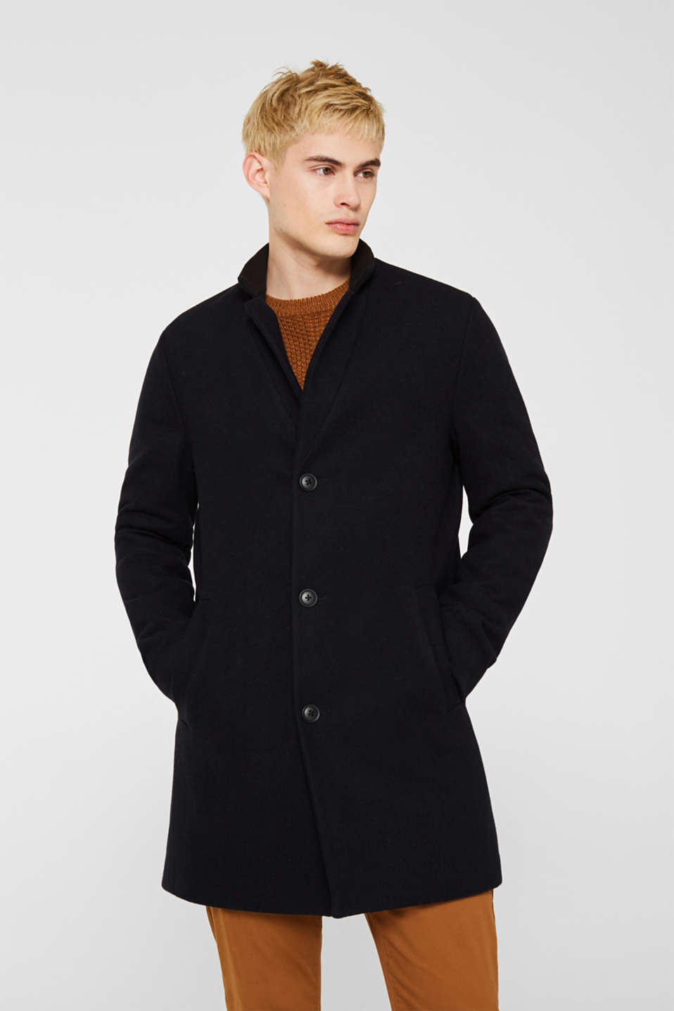 Blended wool: coat with a stand-up collar, NAVY, detail image number 0