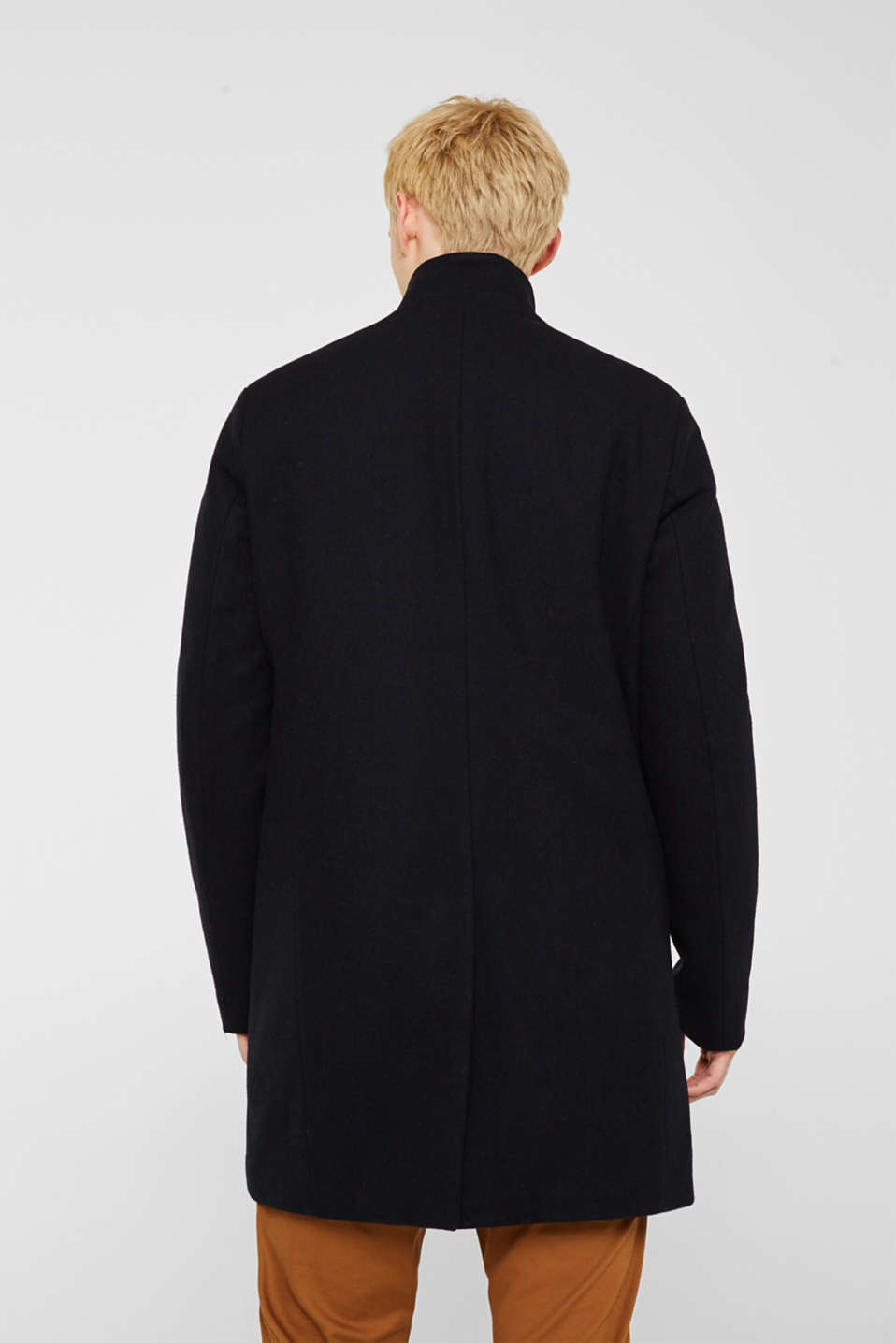 Blended wool: coat with a stand-up collar, NAVY, detail image number 3