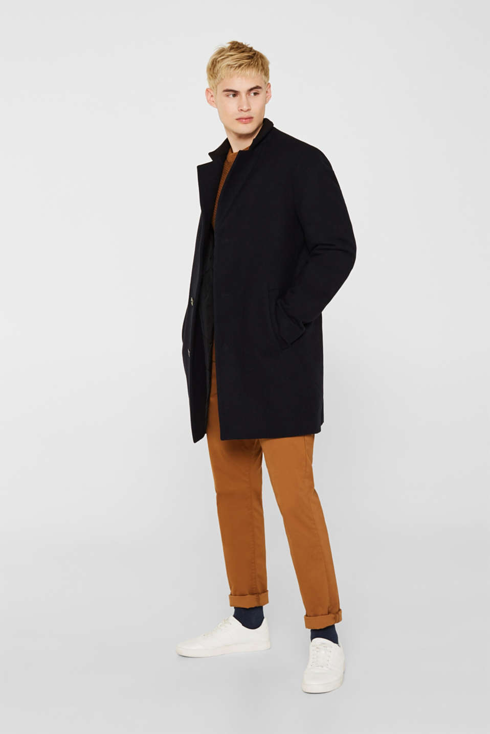 Blended wool: coat with a stand-up collar, NAVY, detail image number 1