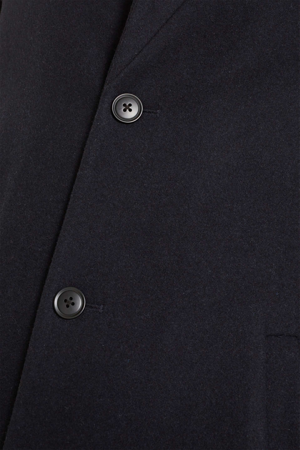 Blended wool: coat with a stand-up collar, NAVY, detail image number 5
