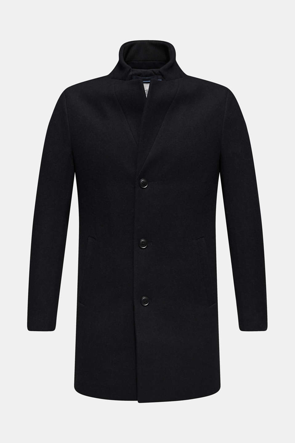 Blended wool: coat with a stand-up collar, NAVY, detail image number 6