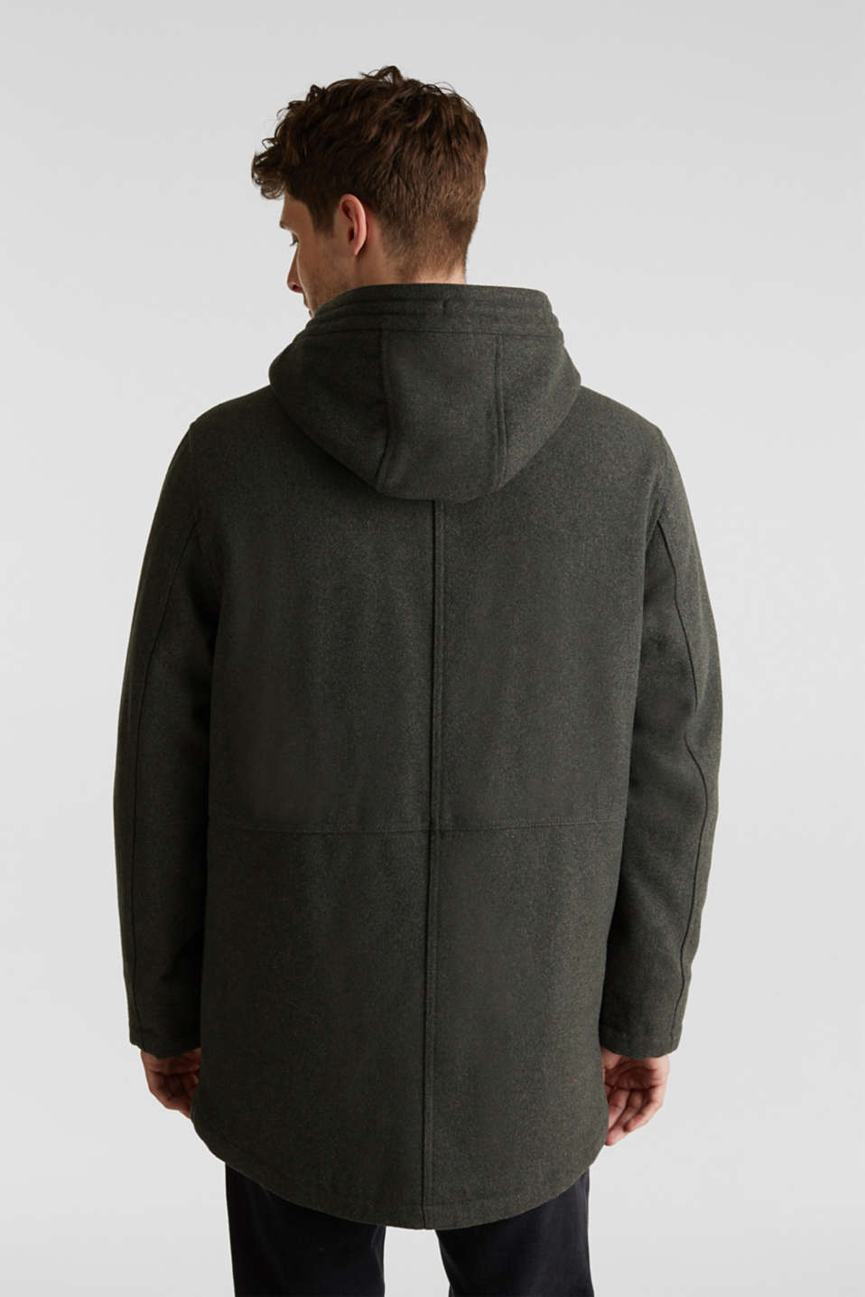 With wool: Padded parka, KHAKI GREEN, detail image number 3