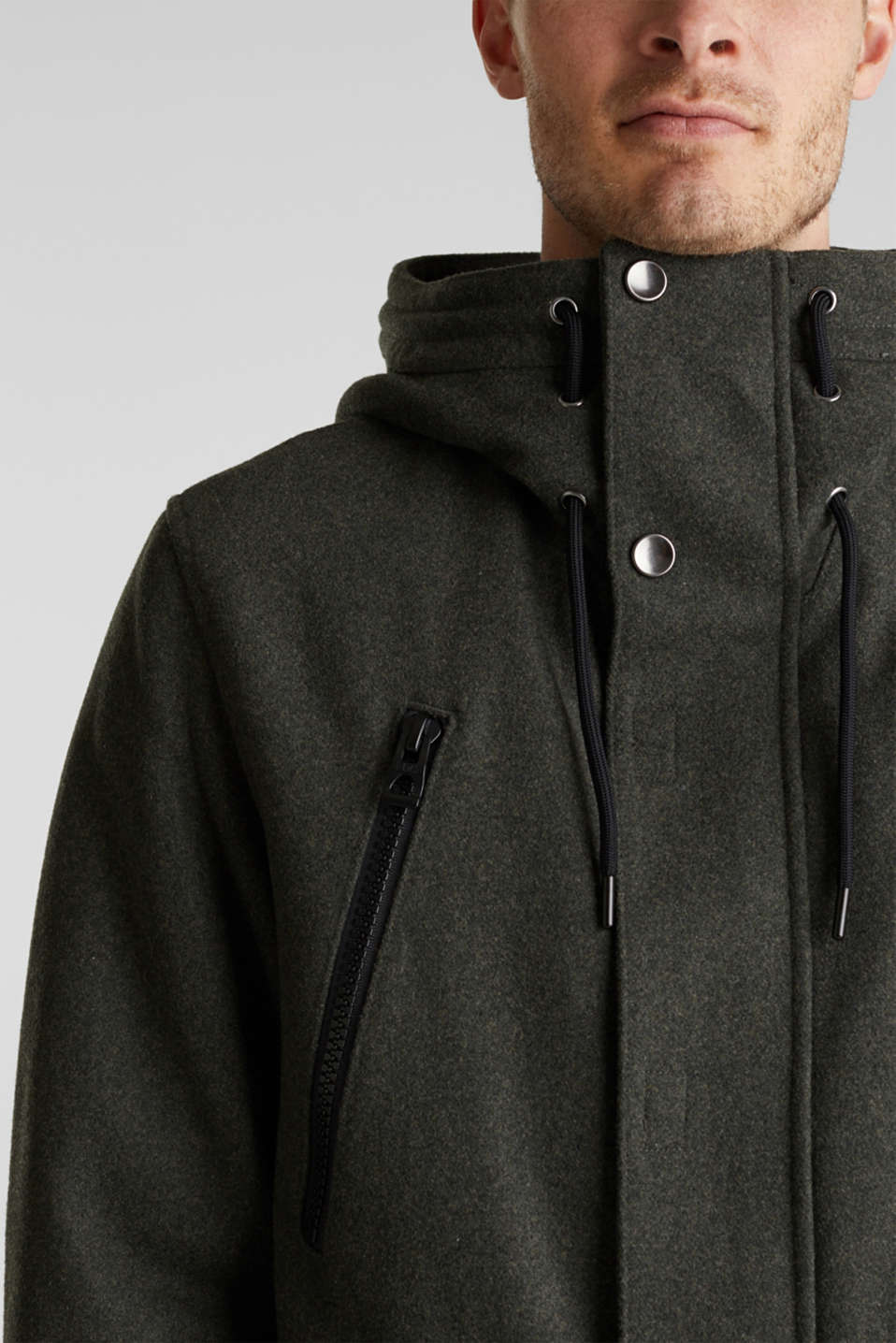 With wool: Padded parka, KHAKI GREEN, detail image number 2