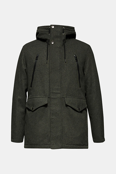 With wool: Padded parka