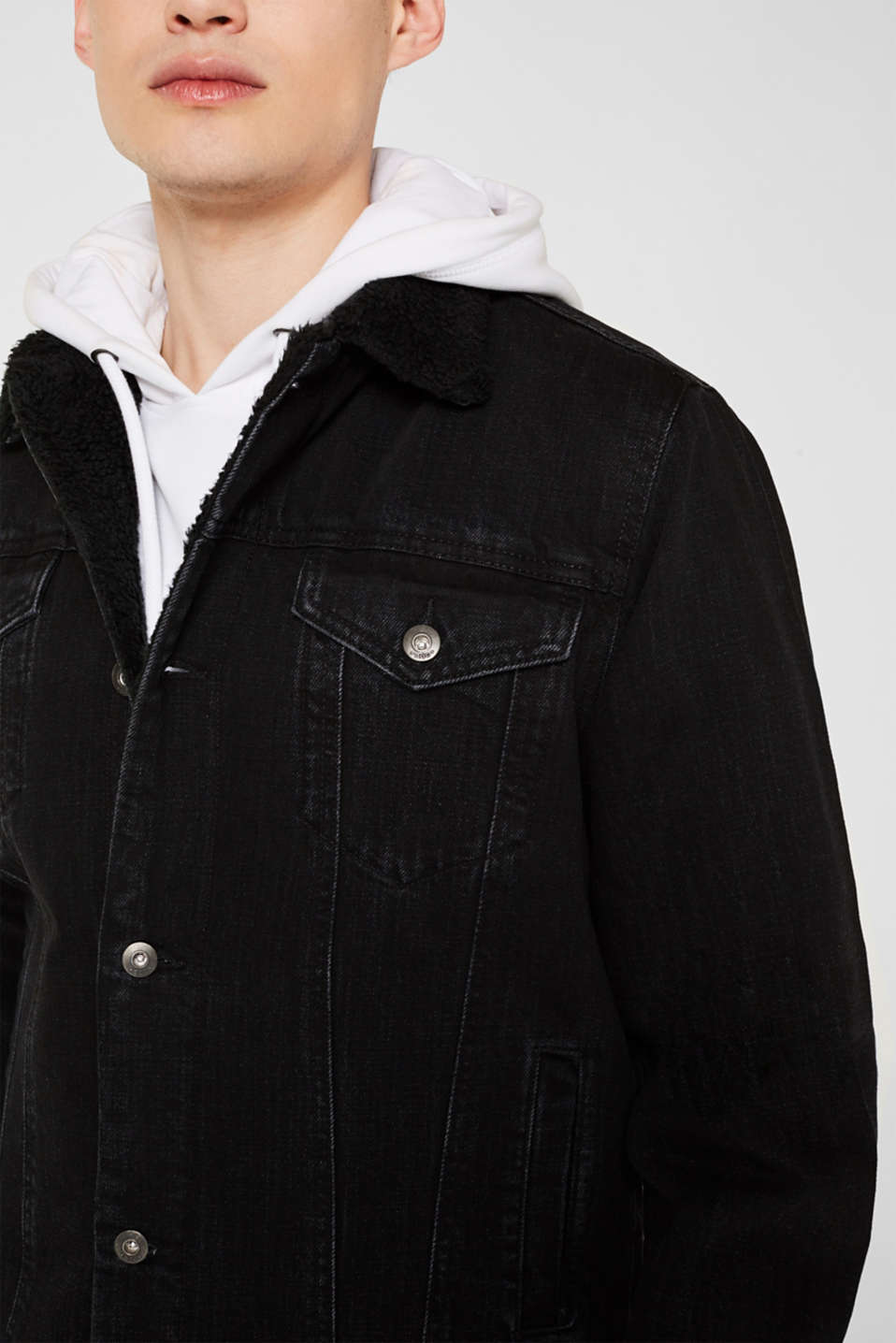 Denim jacket with faux shearling lining, BLACK DARK WASH, detail image number 2
