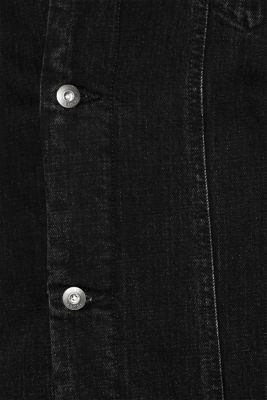 Denim jacket with faux shearling lining, BLACK DARK WASH, detail