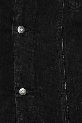 Denim jacket with faux shearling lining, BLACK DARK WASH, detail