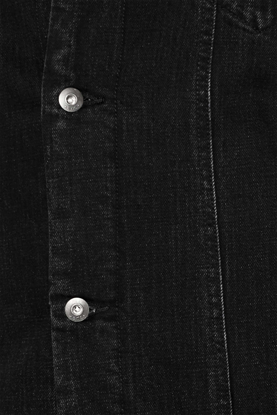 Denim jacket with faux shearling lining, BLACK DARK WASH, detail image number 4