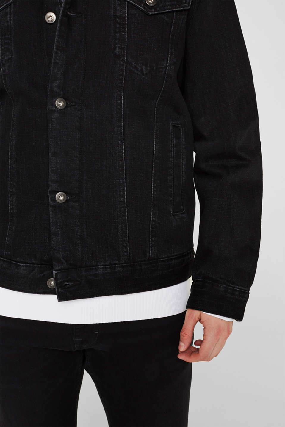 Denim jacket with faux shearling lining, BLACK DARK WASH, detail image number 5