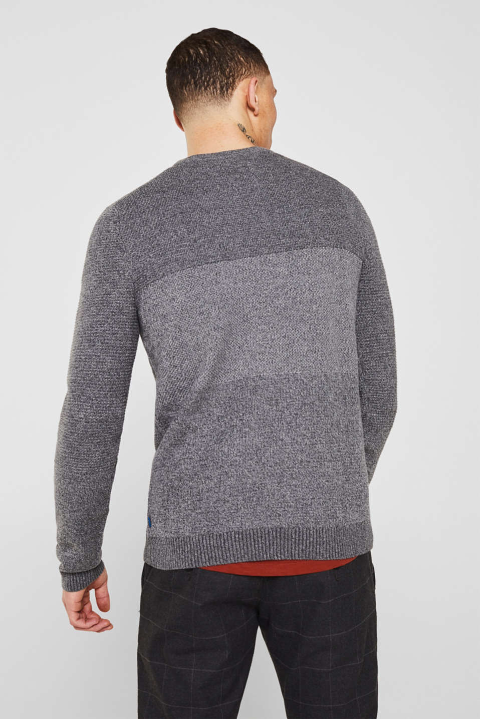 Jumper with textured stripes, 100% cotton, MEDIUM GREY, detail image number 2