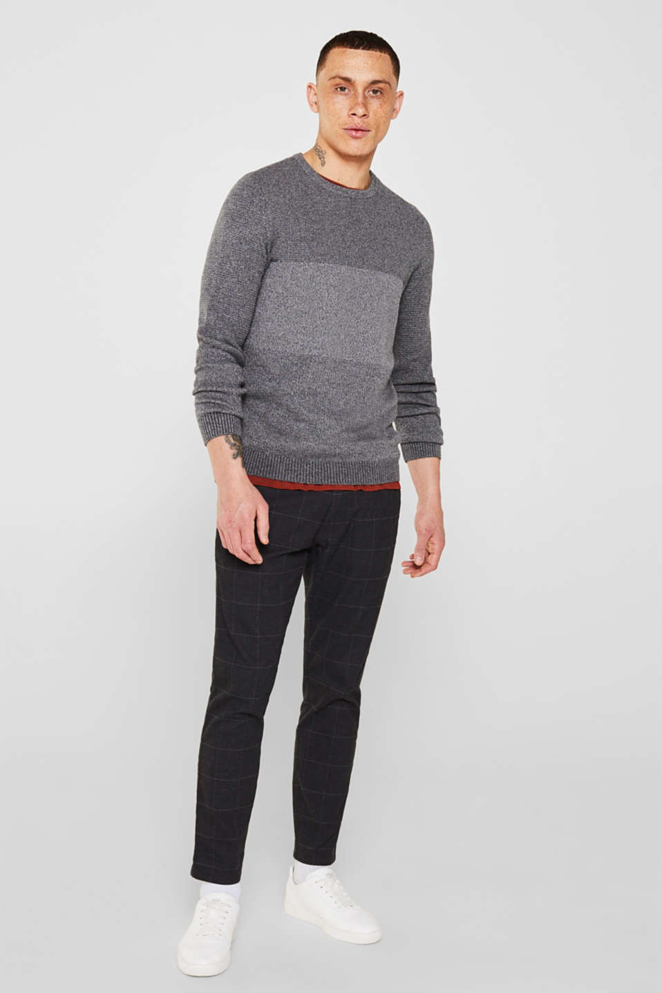Jumper with textured stripes, 100% cotton, MEDIUM GREY, detail image number 0