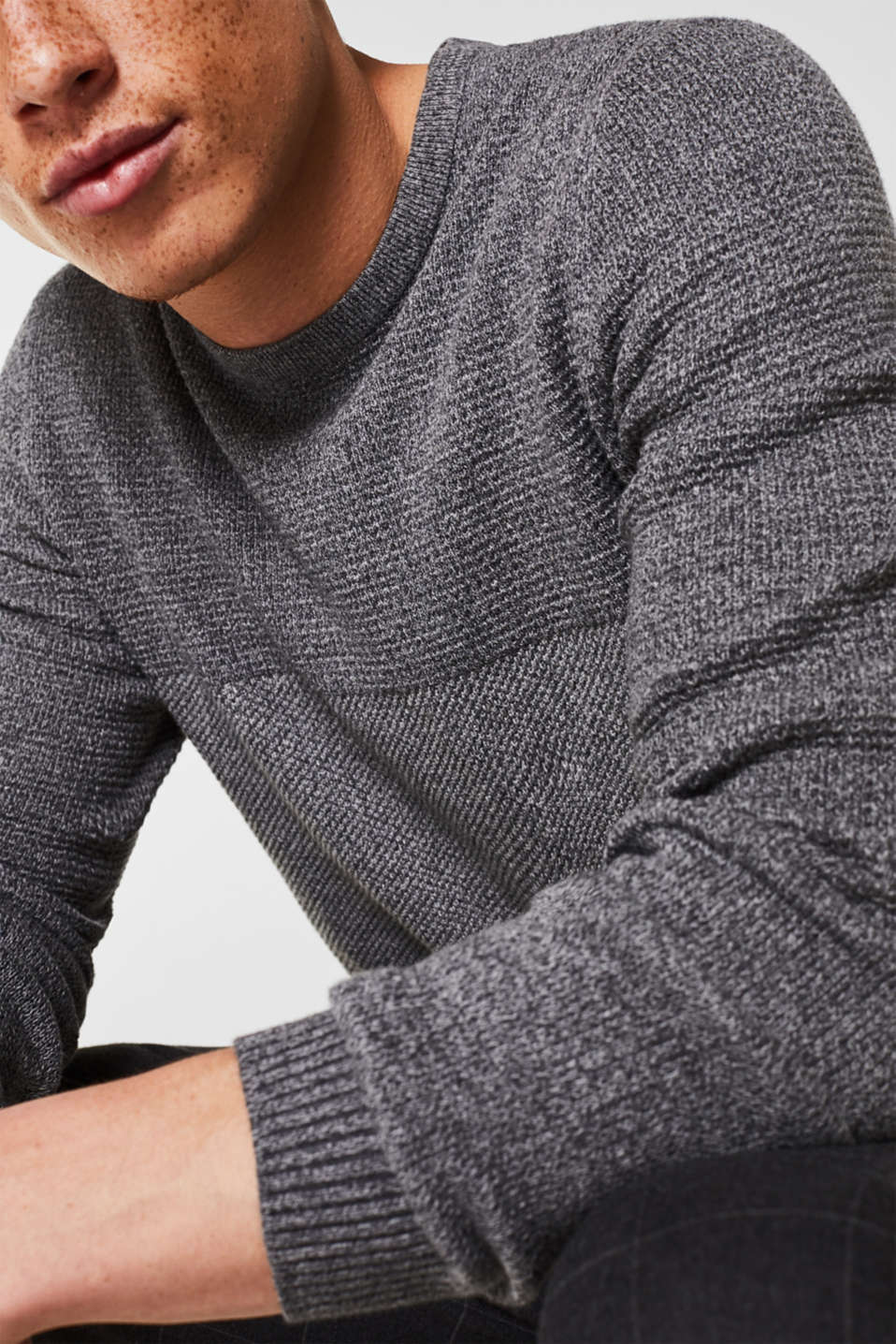 Jumper with textured stripes, 100% cotton, MEDIUM GREY, detail image number 1