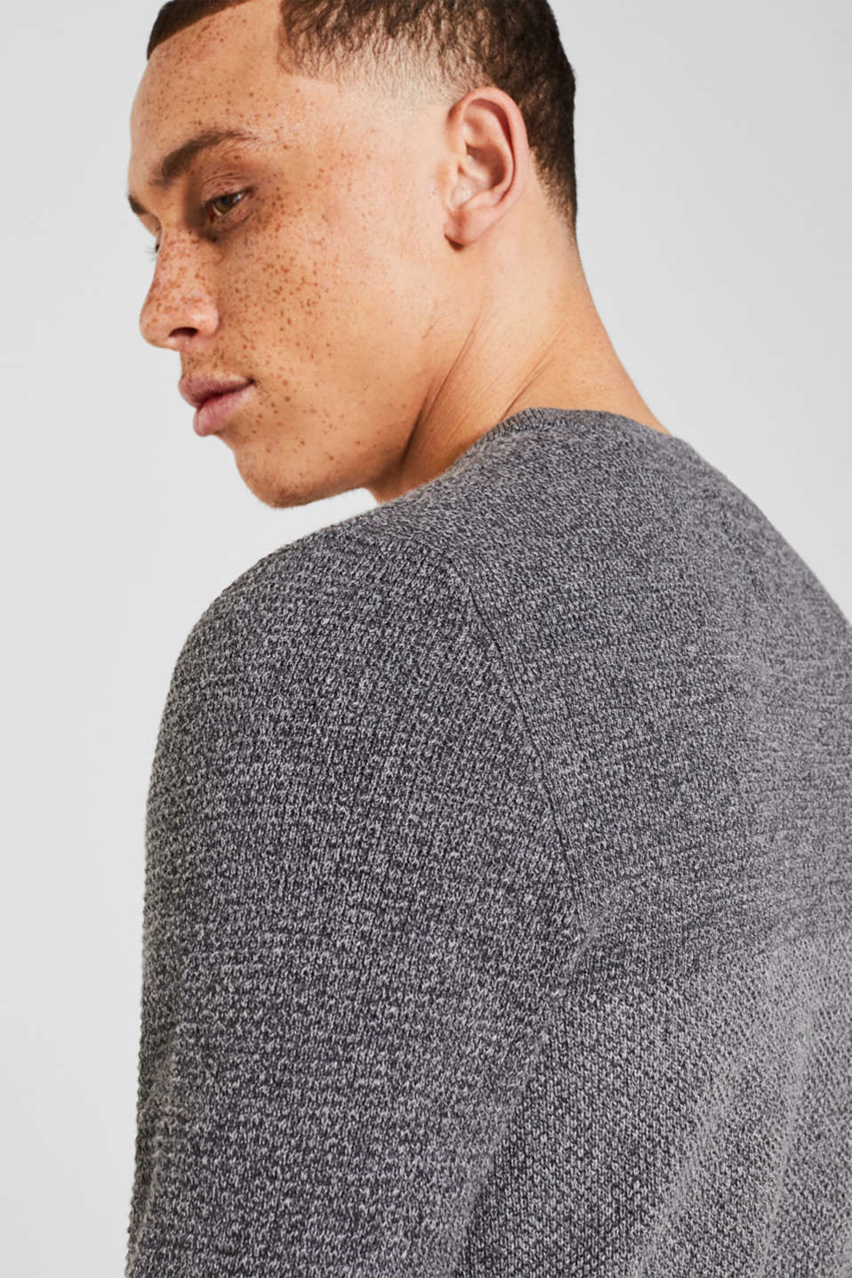 Jumper with textured stripes, 100% cotton, MEDIUM GREY, detail image number 4