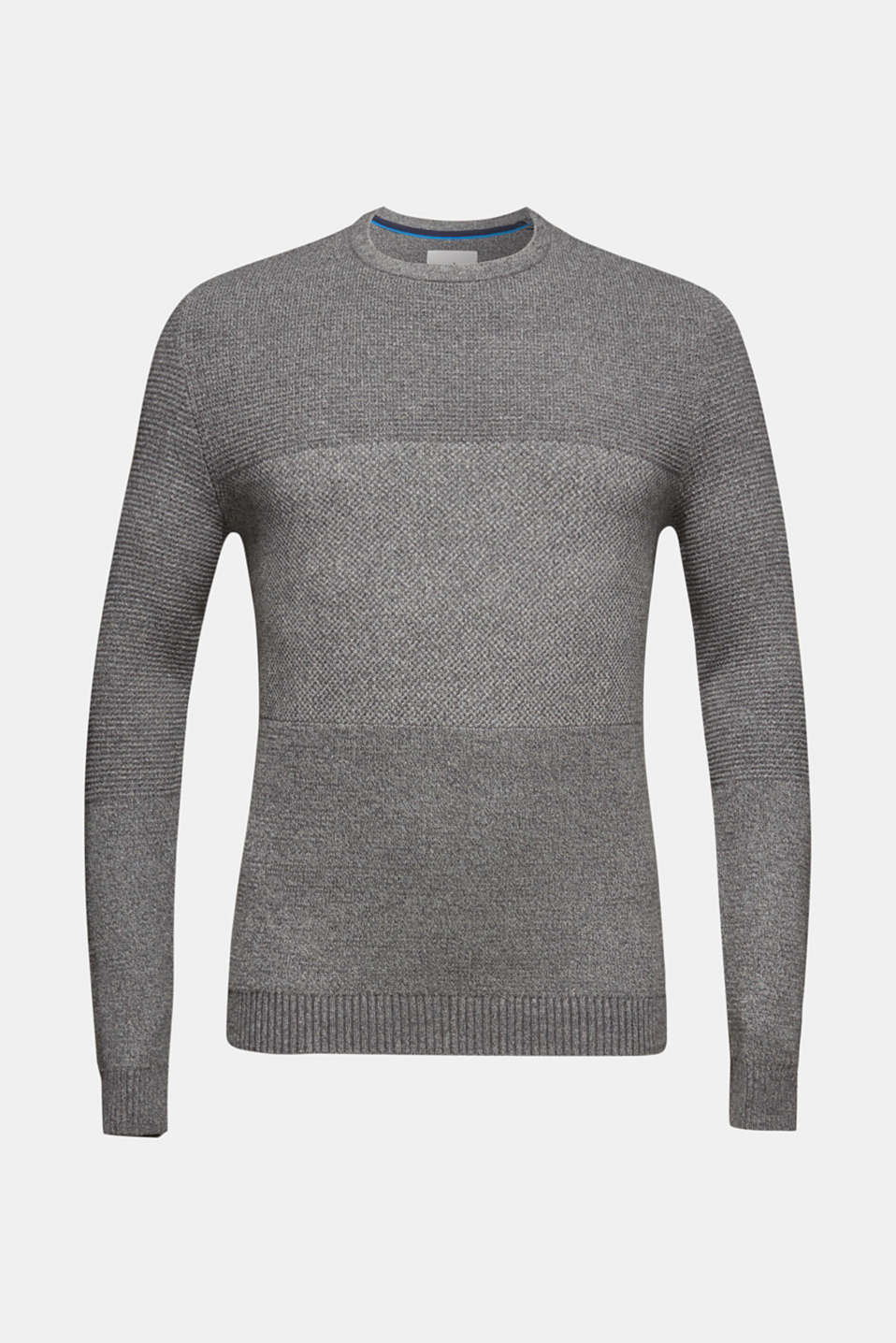 Jumper with textured stripes, 100% cotton, MEDIUM GREY, detail image number 5