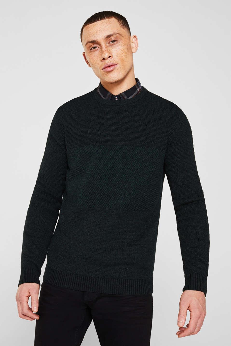 Jumper with textured stripes, 100% cotton, DARK GREEN, detail image number 0