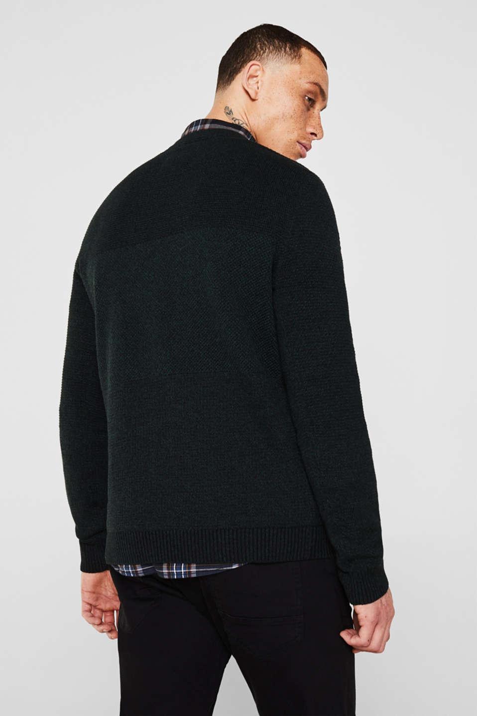 Jumper with textured stripes, 100% cotton, DARK GREEN, detail image number 3