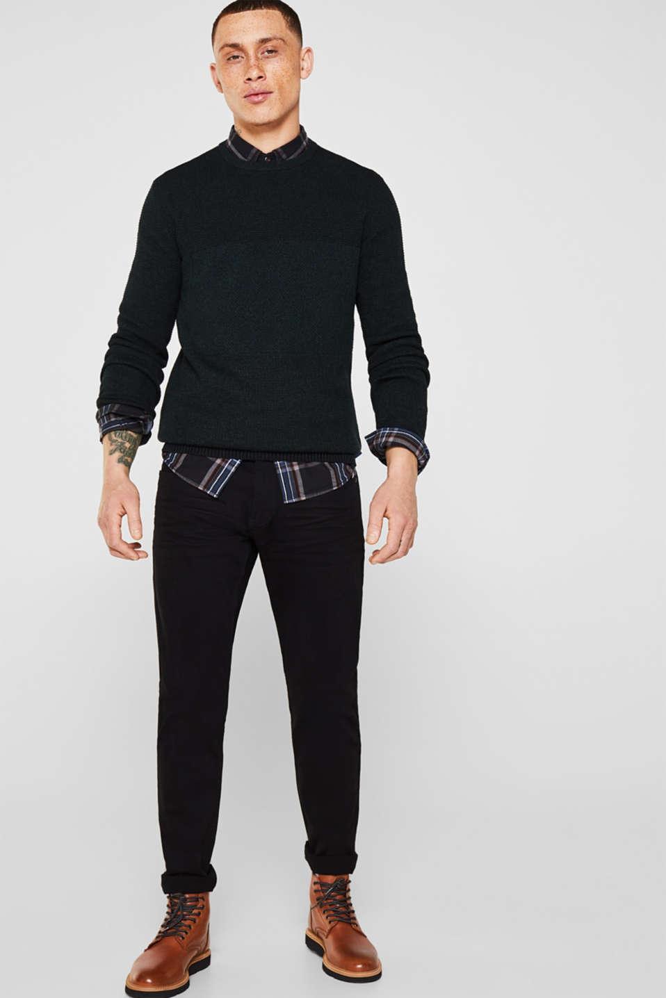 Jumper with textured stripes, 100% cotton, DARK GREEN, detail image number 1
