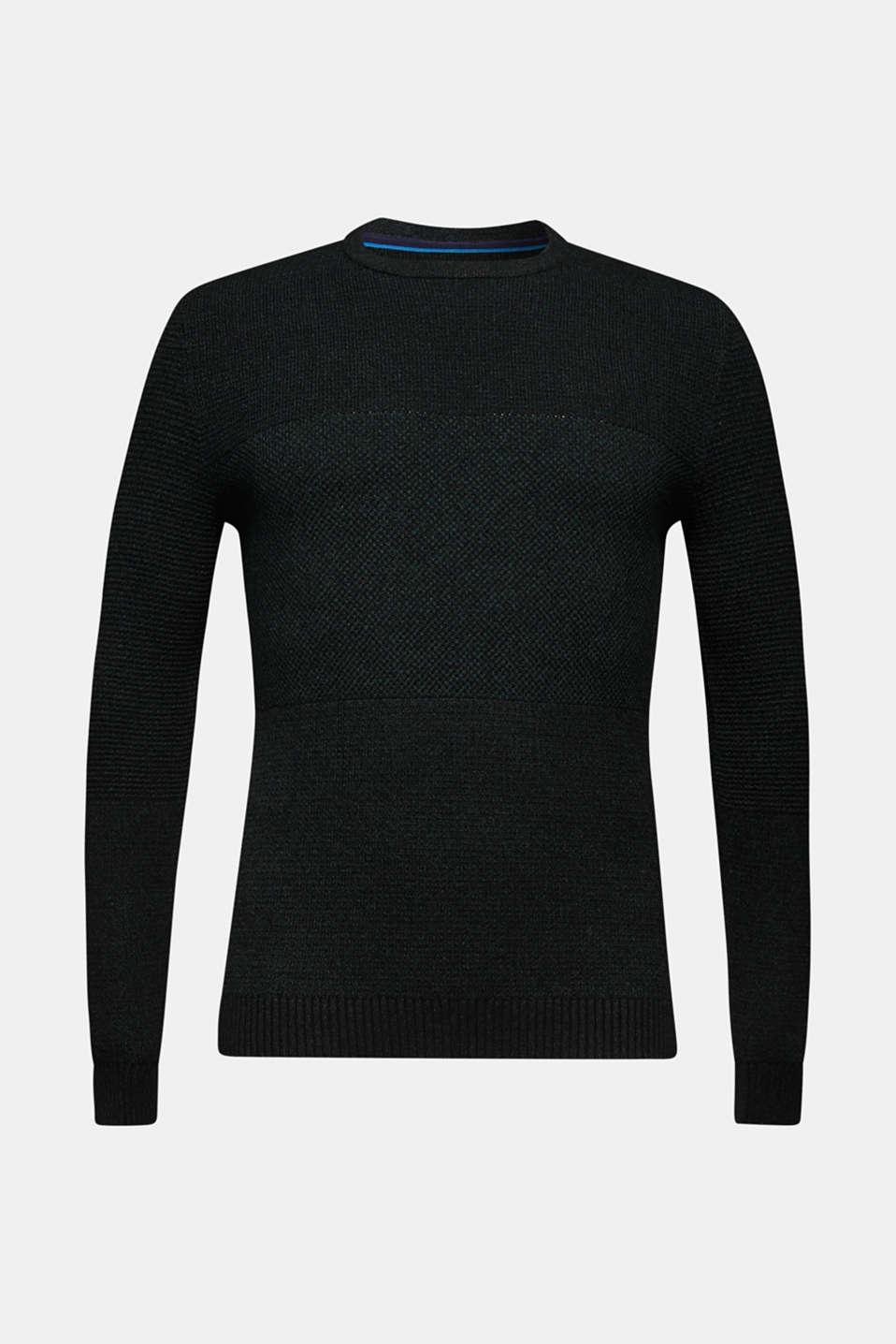 Jumper with textured stripes, 100% cotton, DARK GREEN, detail image number 6