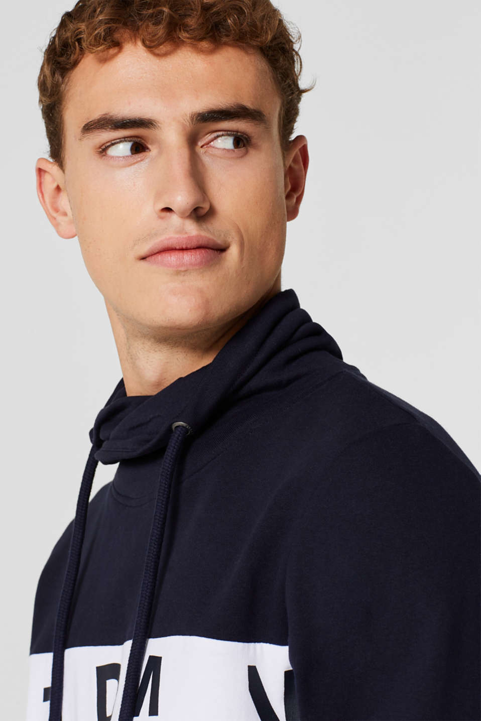 Sweatshirt with a drawstring collar, 100% cotton, NAVY, detail image number 2