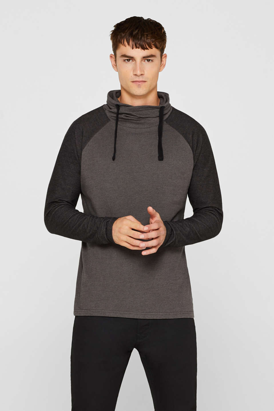 Long sleeve jersey top in 100% cotton, GREY, detail image number 0