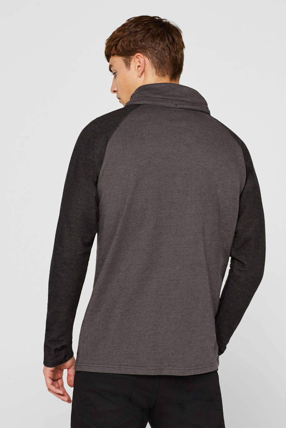 Long sleeve jersey top in 100% cotton, GREY, detail image number 3