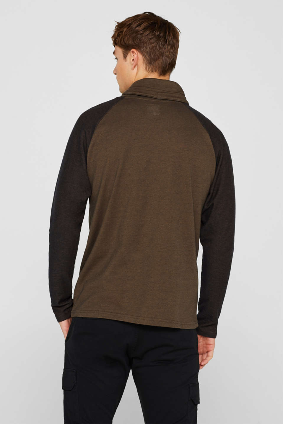 Long sleeve jersey top in 100% cotton, KHAKI GREEN, detail image number 3