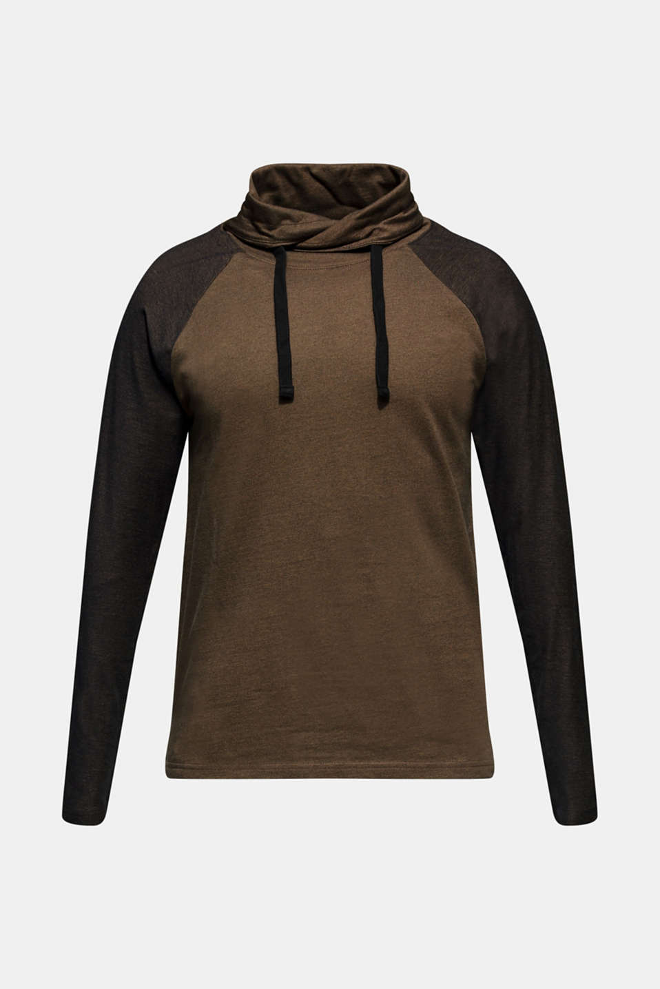Long sleeve jersey top in 100% cotton, KHAKI GREEN, detail image number 6