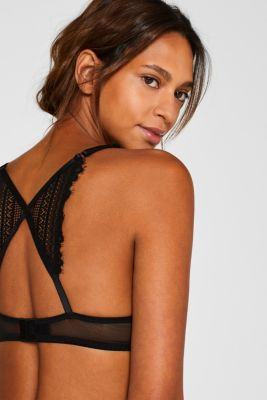 Push-up bra made of delicate lace, BLACK, detail