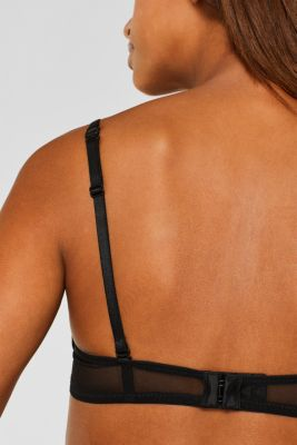Underwire bra with half-cups and lace, BLACK, detail