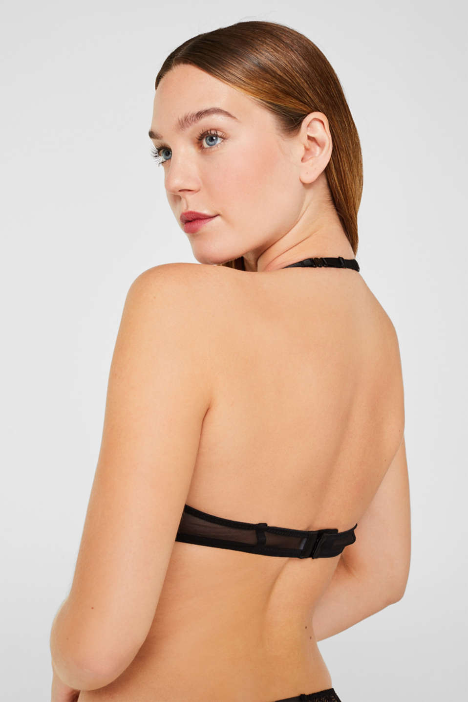 Underwire bra with half-cups and lace, BLACK, detail image number 4
